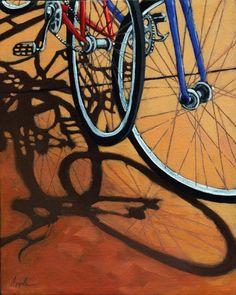 Waiting - Bicycle art, painting by artist Linda Apple