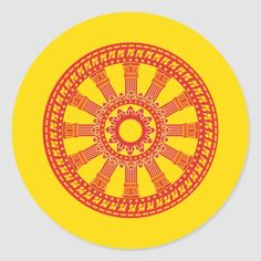 Thai buddhist flag (The Dharmacakra flag) Classic Round Sticker - tap/click to get yours right now! #ClassicRoundSticker #buddhist #thai #flag #dharmacakra #symbols