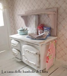 Country chic AGA style kitchen stove with accessories - 1/12 dolls house dollhouse miniature. $55.00, via Etsy.