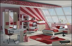 http://allhomedecors.com/pink-red-and-purple-bedroom-decorating-inspiration/red-bedroom-design-inspiration-for-girl-or-boy/