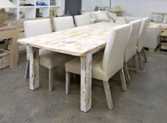 dining table sonora white wash ,frame ral white - la provence