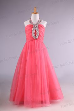 Fuchsia+tulle+halter+with+crystal+beading+flower+by+promgirldress,+$38.99