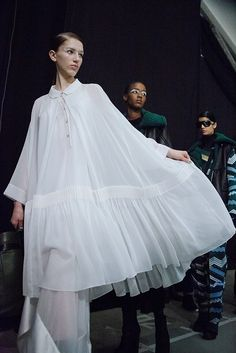 Kenzo AW15, Dazed backstage, Womenswear, Paris - DELIGHTFUL dress/white shirt !!!!!!!!!!!!!!!
