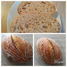 Kovászos kenyér éjjeli hűtős kelesztéssel   Betty hobbi konyhája Hobbit, Bread, Food, Brot, Essen, Baking, Meals, Breads, The Hobbit