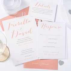Coral Wedding invitation set Light Coral by ITheeWedEtsy on Etsy