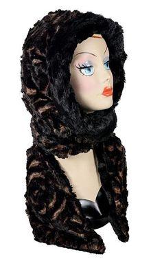 abe74fe7890d Hoody Scarf - Luxury Faux Fur in Vintage Rose with Cuddly Fur in Black -  Vintage
