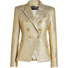 Balmain Metallic Blazer (81.950 RUB) via Polyvore featuring outerwear, jackets, blazers, balmain blazer, lapel jacket, gold jacket, one-button blazer и gold button blazer