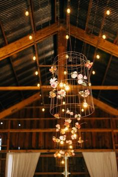 rustic farm barn floral basket chandelier