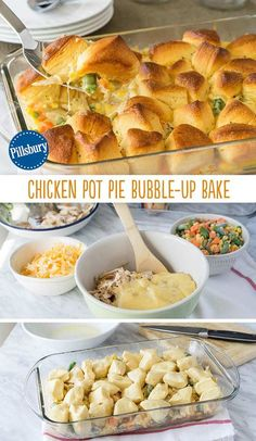 Who says biscuits are a side dish? We like 'em baked right into the meal and mixed with chicken for a delicious one-dish dinner. This Chicken Pot Pie Bubble-Up Bake brings all the comfort of a home-cooked meal. The mixed vegetables are sneakily added in f I Love Food, Good Food, Yummy Food, Tasty, Delicious Recipes, Pie Recipes, Cooking Recipes, Chicken Recipes, Recipe Chicken