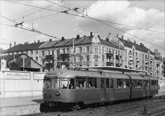 Oslo trikk ved Majorstuen stasjon   på Holmenkollbanen ca 1955. Foto Robert Charles Wilse