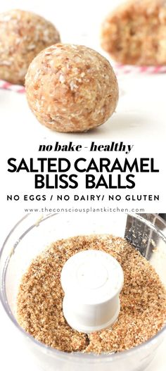 Salted Caramel Bliss Balls VEGAN, healthy, No Bake, Easy, Vegan snack with almond flour, coconut, Medjool dates, salt. Paleo, gluten free, dairy free, 4 ingredients only Healthy Vegan Snacks, Vegan Treats, Bite Size Snacks, Bliss Balls, 4 Ingredients, Almond Flour, Dairy Free, Caramel, Coconut