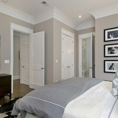 Master Bedroom traditional bedroom - love this wall color! Home, Home Bedroom, Bedroom Design, House Design, Greige Bedroom, Interior, New Homes, House Interior, Remodel Bedroom