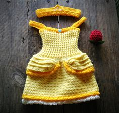 Copy of Crochet Baby Belle Beauty and the Beast Infant Newborn Baby Dress Beanie Hat Shoes Rose Set Handmade Photography Photo Prop Baby Shower Gift P Crochet Princess, Baby Girl Crochet, Crochet Baby Clothes, Newborn Crochet, Crochet For Kids, Baby Set, Crochet Baby Costumes, Disney Princess Dresses, Halloween Crochet
