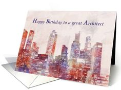Happy Birthday to a great Architect, Skyline Painting card