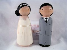 Personalized Peg Doll Wedding Cake Topper by knottingwood on Etsy