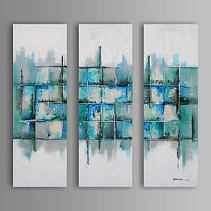 Abstract/Fantasie Olie Schilderij Handgeschilderde Canvas Wall Art Andere artiesten Drie panelen Klaar te hangen – EUR € 149.99