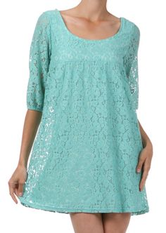 Lace Me Up Dress in Mint. $52