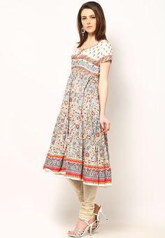 Printed Cotton Flair Off White Kurta Online Shopping - Biba | BI021WA42GWZINDFAS