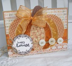 annettes paper bistro: The Snake Bark Thursday, September 2012 - using Papertrey Ink Pumpkin die - cut sections from fabric and sew around each piece, then add the stamped image over the top using foam tape, twine and buttons Cute Cards, Diy Cards, Fall Cards, Holiday Cards, Pumpkin Cards, Fabric Cards, Thanksgiving Cards, Card Tags, Gift Tags