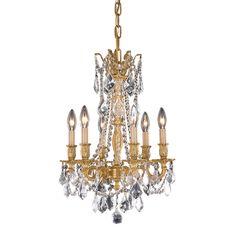 "Elegant Lighting 9206D16FG/SA Rosalia Collection Hanging Fixture D16"" x H22"" French Gold Finish (Swarovski Spectra Crystals)"