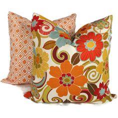 Orange Floral Decorative Pillow Cover 18x18 20x20 by PopOColor, $45.00
