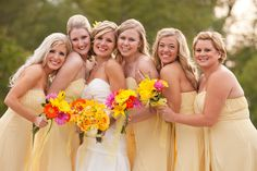 These bridesmaids looked sweet and youthful in there light yellow strapless gowns.  #brideside #realwedding #wedding #strapless #bridesmaids #long #yellow #fun #sweet  A sunny Pinterest-worthy wedding with pops of summer yellow. | Brideside