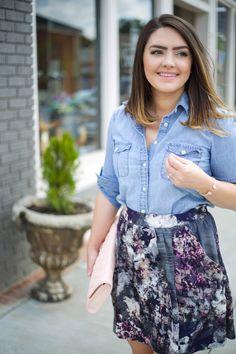 Mae Amor- Floral Skater Skirt, Denim Shirt, Nude Ankle Strap Heels, Pink Quilted Clutch, Kendra Scott, Vera Bradley, J. Crew