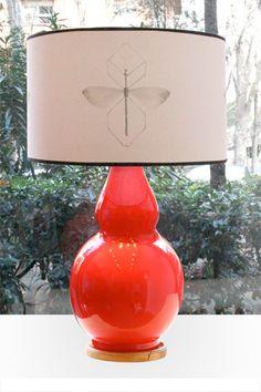 Lámpara de Mesa Color Rojo Cerámica | Pottery Table Lamp Red Color. Detana, Madrid.
