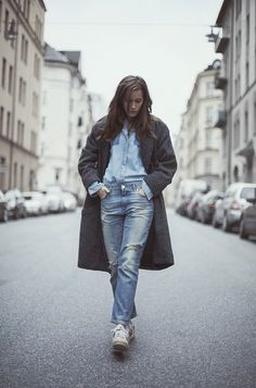 jeans, sneaks, overcoat