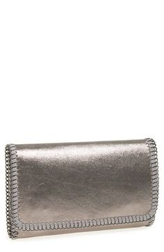 Phase 3 'Metallic Chain' Foldover Clutch available at #Nordstrom   I DO LOVE THIS CLUTCH!  Gunmetal as shown or a light Rose color. $48.00