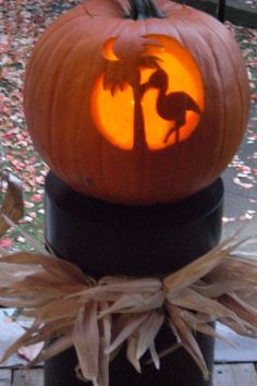 Flamingo pumpkin carving - my favorite bird for my wedding anniversary, also known as Halloversary!