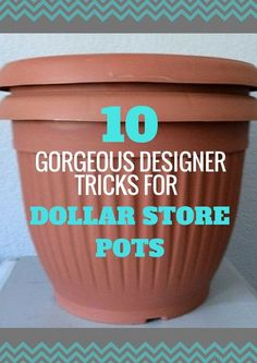 Here Are 10 Gorgeous Designer Tricks for Your Dollar Store Pots - You know these cheap Dollar Store flower pots? Instead of plopping your plan