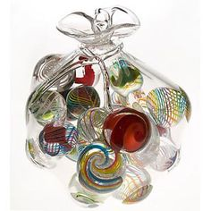 Bag O' Marbles-This work created entirely in hot glass appeals to all marble enthusiasts.   (Mike Wallace, Village Glass)