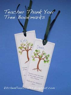 Kitchen Floor Crafts: Teacher Thank You Tree Bookmarks (Free Printable)