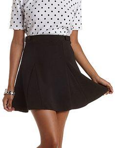 Button-Tab Skater Skirt: Charlotte Russe