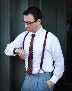 Your Suspender Style = Leather Button Suspenders