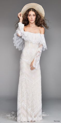 willow by watters spring 2018 long sleeves off the shoulder straight across neckline heavily embellished bodice bohemian fit and flare wedding dress sweep train (12) mv -- Willowby by Watters Spring 2018 Wedding Dresses #weddingdresses