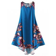 Choies Blue Floral Lace Up Back Asymmetric Swing Dress ($25) ❤ liked on Polyvore featuring dresses, blue, flower print dress, blue swing dress, floral swing dress, blue asymmetrical dress and blue floral dress