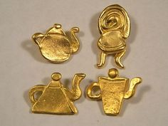 LOT OF 4 COLLECTIBLE METAL PICTURE BUTTONS TODD OLDHAM DESIGN? TEA POT / KETTLE (12/28/2012)