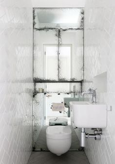 mirror wall with a great tile treatment