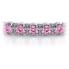 5.00ctw Pink Sapphire Gemstone Tennis Bracelet in 14k White Gold ($6,599) ❤ liked on Polyvore featuring jewelry, bracelets, 14k tennis bracelet, gem jewelry, sparkle jewelry, pink sapphire jewelry and 14k jewelry