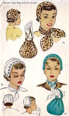 1950s Ladies Hat Scarves and Bag
