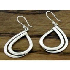 Teardrop Reflection Silver Earrings