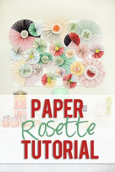 Easy and Chic Paper Rosette Tutorial! Love this idea for a party, home decor, or reception! from HowDoesShe.com #paper #rosette #partydecor #diydecor