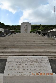 Stairs To Memorial Gardens At Punchbowl National Cemetary on Amazing Stairs Ideas 666 Remember Pearl Harbor, Memorial Gardens, Beautiful Stairs, National Cemetery, Punch Bowls, Oahu, Memories, Island, Hawaii 2017