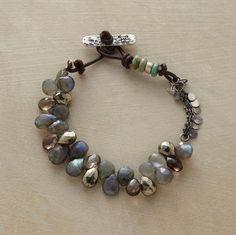Smoky quartz, labradorite and pyrite. Sterling silver paillettes (just an idea. unique closure)