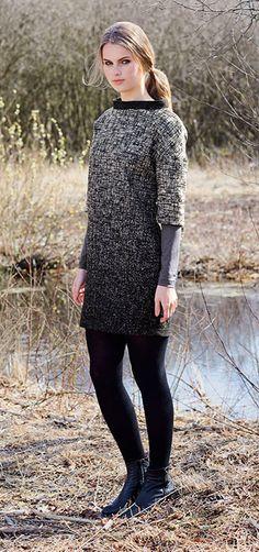 Vævet uld sort /offwhite med struktur - Stof & Stil