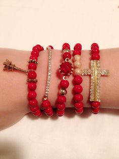 Red beads and gold charms
