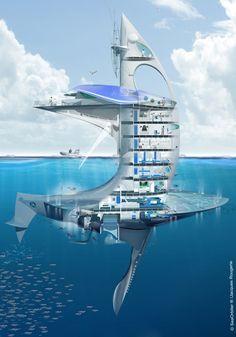 L'engin mesure 58 m de hauteur, avec 27 m au-dessus de l'eau et 31 m sous la surface. Les laboratoires et les installations de mises à l'eau des instruments se trouvent au-dessus. Les lieux de vie et la zone technique sont sous la surface. Les ponts les plus bas abritent des zones pressurisées, permettant aux plongeurs un accès permanent à l'extérieur, à 12 m de profondeur, de jour comme de nuit. C'est là aussi que se trouvent les plateformes de lancement des appareils sous-marins. La…