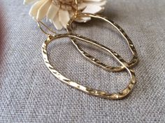 Oval Hoop Earrings Gold Hammered Dangle by CotonLilyCreations